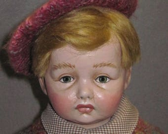 Cloth Doll made from Antique Composition Head, Oil painted, OOAK by NIADA artist Donna May Robinson