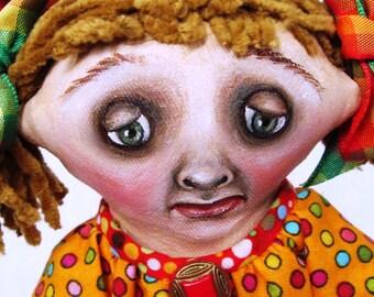 "Cloth Doll, Painted Doll, ""Little Saddie in Orange"", OOAK doll by NIADA artist Donna May Robinson"