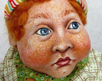 """Cloth Doll, Painted Doll, """"Henry and BooBoo"""", OOAK by NIADA artist Donna May Robinson"""