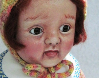 Cloth Doll,  Made from Antique Composition Head, Vintage Doll, Oil Painted Doll, OOAK, NIADA