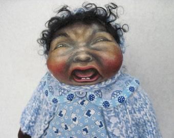 "Cloth Doll, Painted Doll, ""Little Babette"", OOAK by NIADA artist Donna May Robinson"