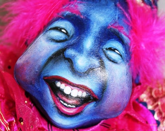 """Cloth Doll, Clown Doll, """"Rudyblue"""", OOAK by NIADA artist Donna May Robinson"""