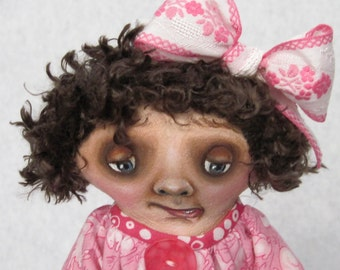 """Cloth Doll, Painted Doll, """"Little Saddie in Pink"""", OOAK cloth painted doll by NIADA artist Donna May Robinson"""