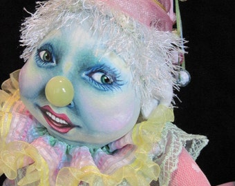 """Cloth Doll, Clown Doll, """"Pastella"""", all original, OOAK, posable, oil painted Donna May Robinson doll"""