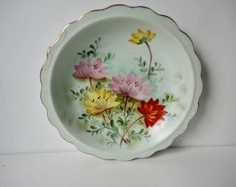 Vintage Lefton Hand Painted Flowers Bowl.