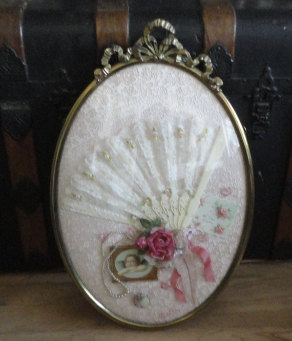 Vintage Oval Brass Frame With Convex Glass Victorian Shabby Etsy