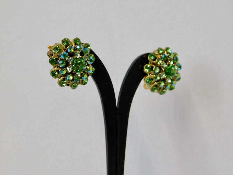 Vintage Gold tone Green and AB Green Crystals Clip Earrings.