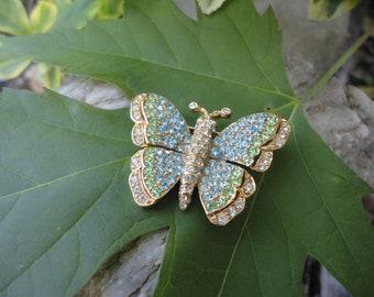 CINER  Pavé  Crystals  Butterfly Brooch. Blue, Green and Clear Crystals Butterfly Ciner Pin.