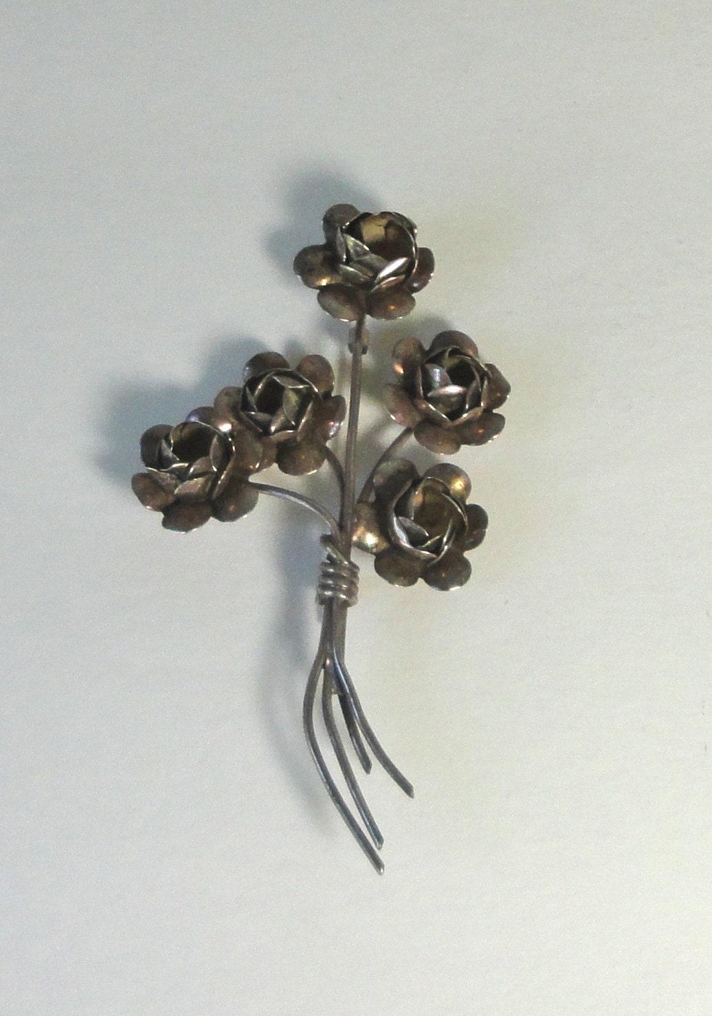 Sterling Flower Brooch COROCRAFT STERLING Silver Flower Bouquet Brooch Coro Figural Brooch