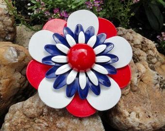 Multi Layered Enamel Metal Flower in Patriotic Colors Brooch/Pin. 1960s Flower