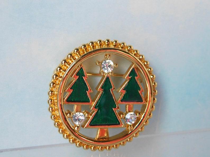 MONET  Christmas Trees with Rhinestones Circle BroochPin.