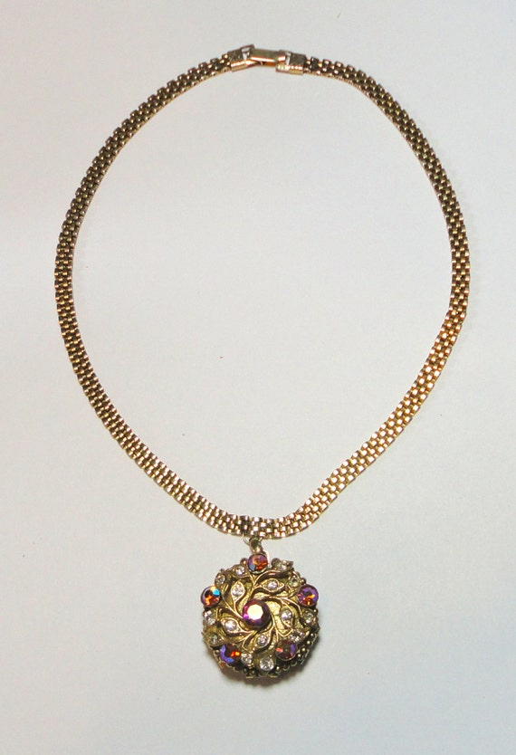 Lisner Locket Chocker Necklace with Crystals. Earl