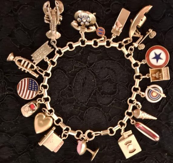 Vintage 14k Chunky Charm Bracelet 1950s