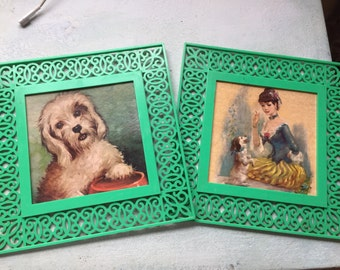 Vintage French Girl and Dog Wall Art|French Country/Shabby Chic