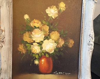 Yellow Rose Painting in a Shabby Chic Frame