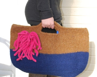 Navy Blue and Brown Felted Tote with Pink Felted Pin
