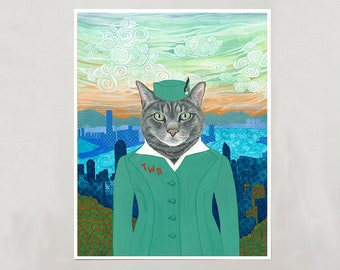 """Art Print - Grey Cat """"Emma"""" - 4 Sizes - S/M/L/XL"""