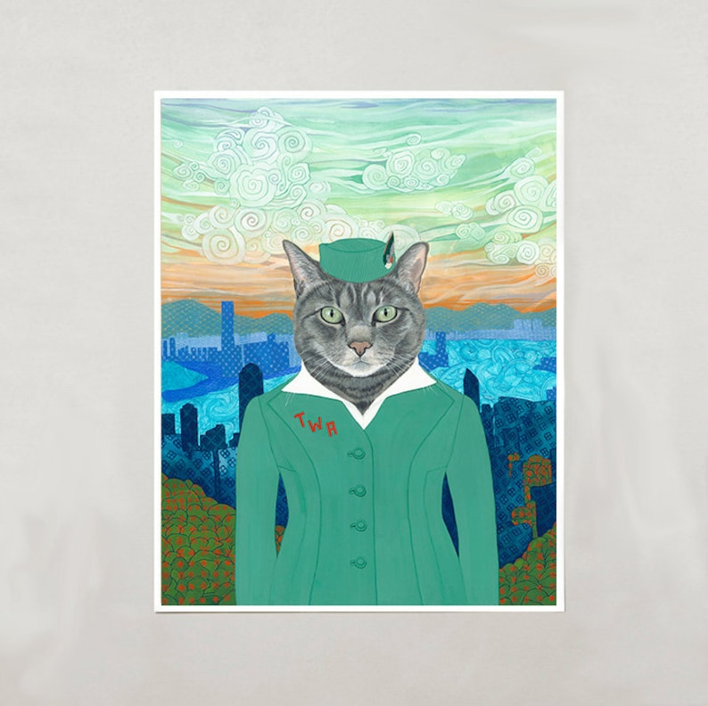 Art Print  Grey Cat Emma  4 Sizes  S/M/L/XL image 0