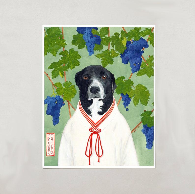 Art Print  Black & White Dog  Signed by Artist  4 Sizes  image 0