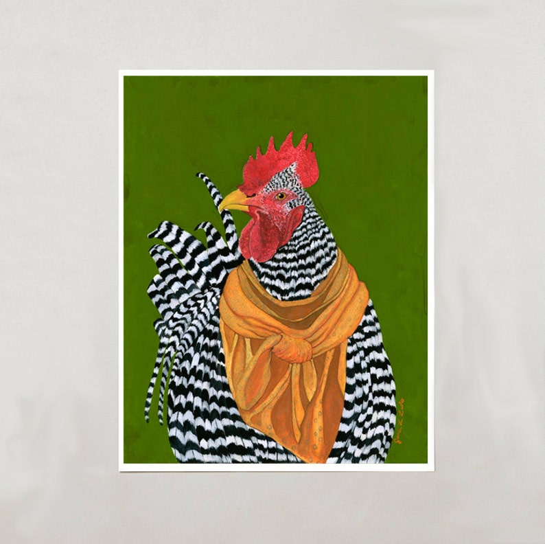 Art Print  Rooster  Signed by Artist  4 Sizes  S/M/L/XL image 0