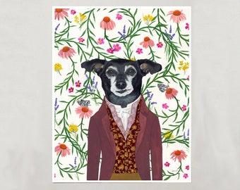 "Art Print - Little Black Dog ""Melvin"" - 4 Sizes - S/M/L/XL"