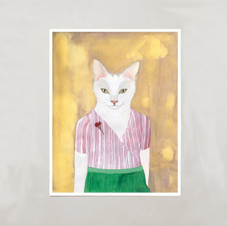 Art Print  White Cat  Signed by Artist  3 Sizes  S/M/L image 0