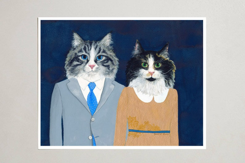 Art Print  Siberian Cats  Signed by Artist  3 Sizes  S/M/L image 0