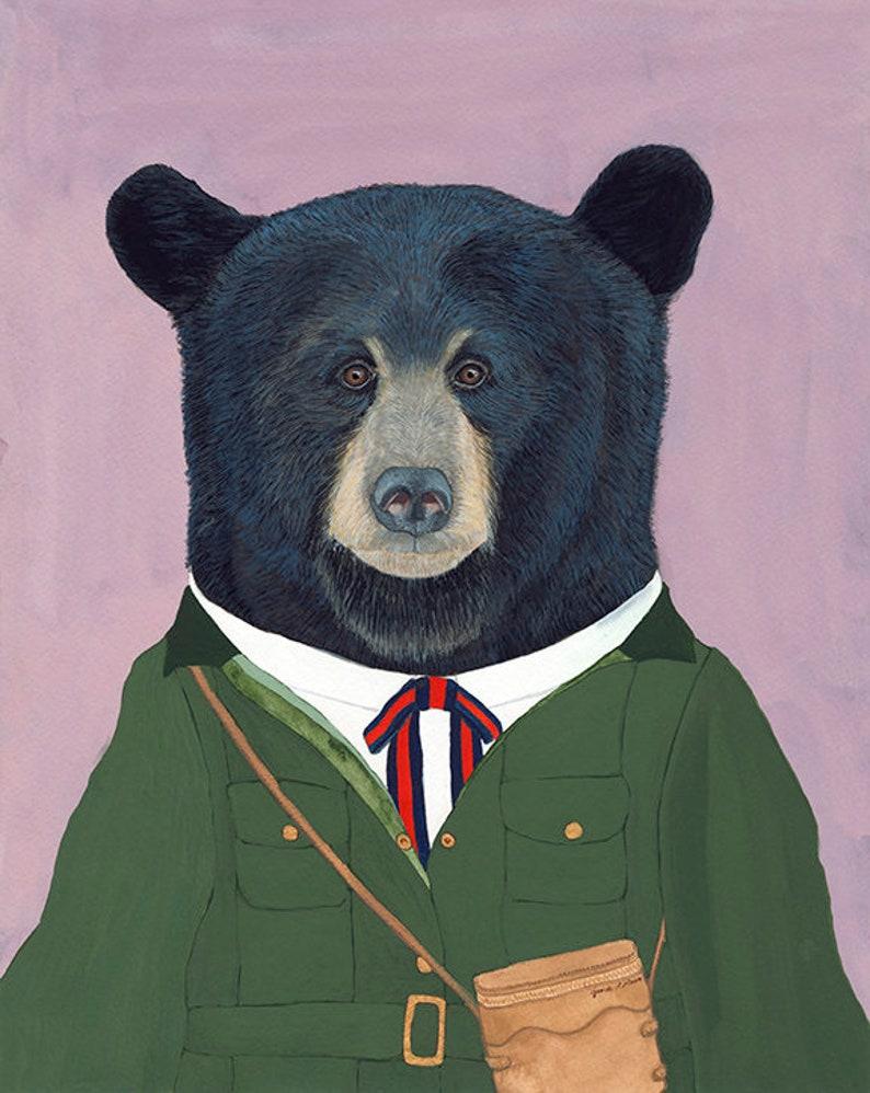 Black Bear  Original Gouache Painting  Framed Art  14x11 image 0