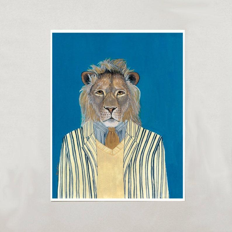 Art Print  Lion  Signed by Artist  4 Sizes  S/M/L/XL image 0