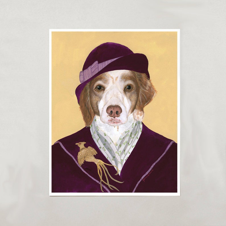 Art Print  Brittany Dog  Signed by Artist  4 Sizes  image 0