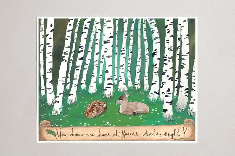 Art Print  Two Fawns  Signed by Artist  3 Sizes  S/M/L image 0