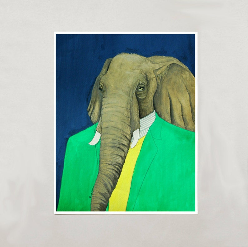 Art Print  Elephant  Signed by Artist  3 Sizes  S/M/L image 0