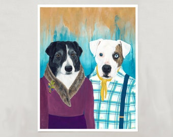 """Art Print - Two Dogs """"Orca & Odie"""" - 4 Sizes - S/M/L/XL"""