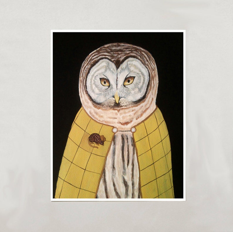 Art Print  Owl  Signed by Artist  4 Sizes  S/M/L/XL image 0