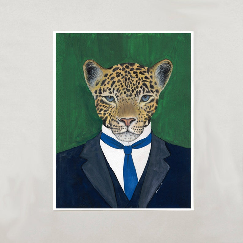 Art Print  Leopard  Signed by Artist  4 Sizes  S/M/L/XL image 0