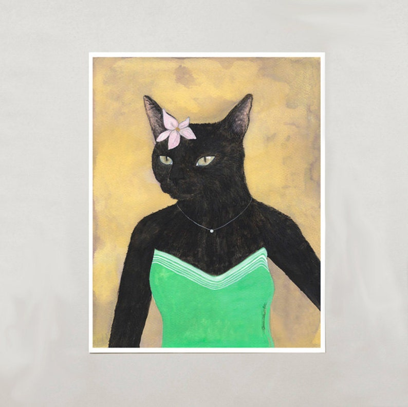 Art Print  Black Cat Girl  Signed by Artist  3 Sizes  image 0