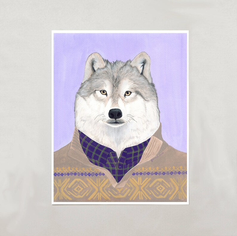 Art Print  Arctic Wolf  4 Sizes  S/M/L/XL image 0