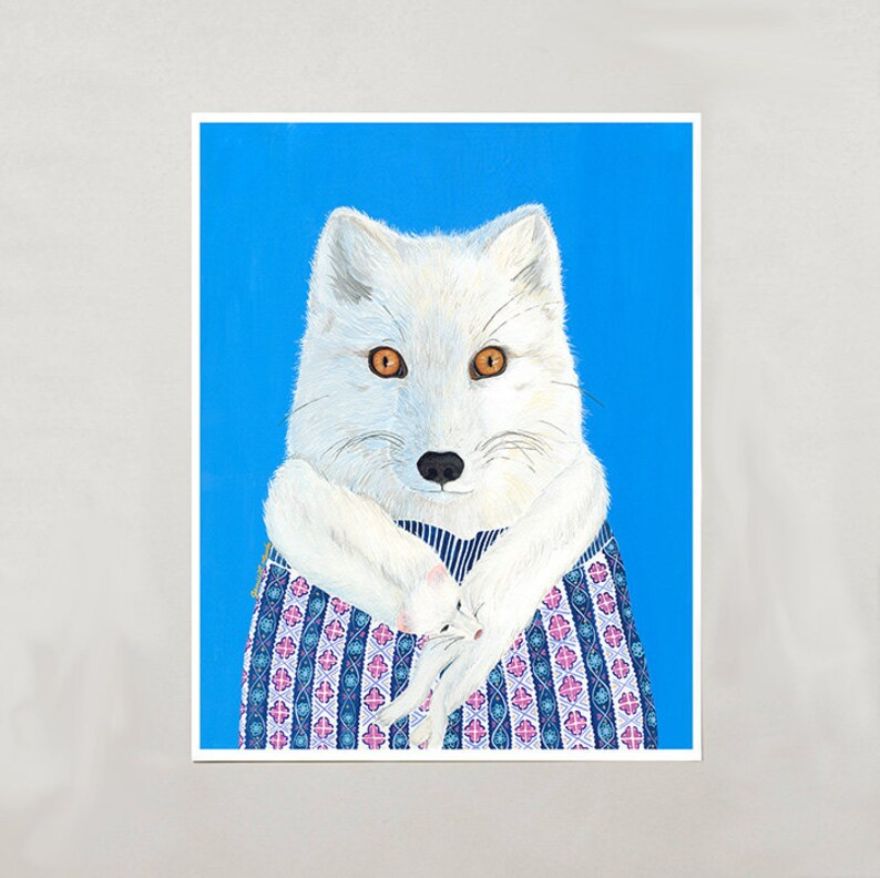 Art Print  Arctic Fox  4 Sizes  S/M/L/XL image 0