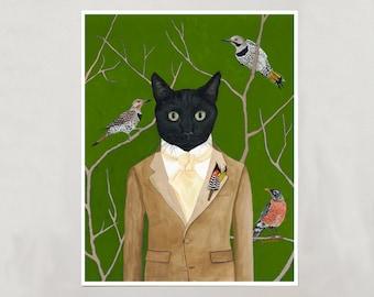 Art Print - Black Cat Boy - Signed by Artist - 4 Sizes - S/M/L/XL
