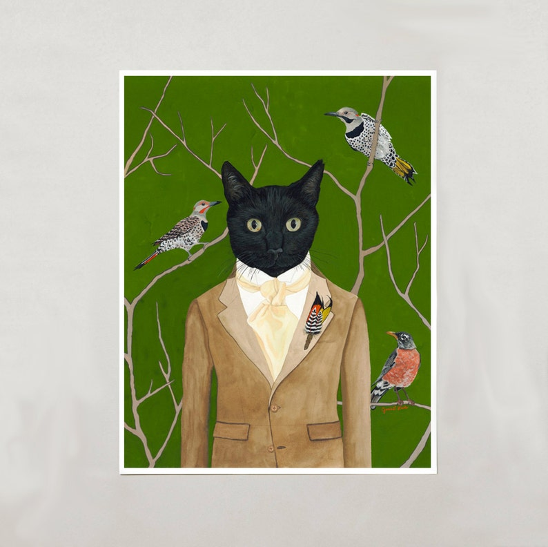 Art Print  Black Cat Boy  Signed by Artist  4 Sizes  image 0