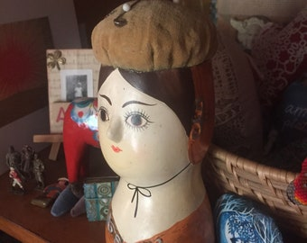 Vintage Chalkware and Paper Mache Gemma Taccogna inspired Pincushion Bust with Velvet