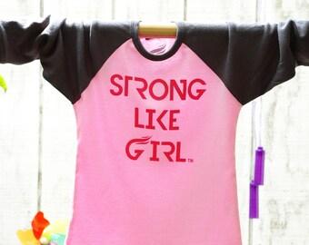 Strong Like Girl Little Baseball T