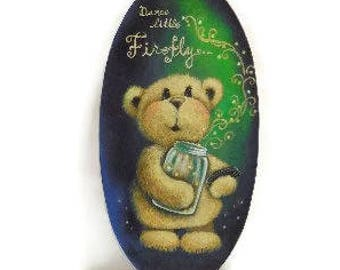 Dance Little Firefly Sign | Hand Painted Oval Plaque | Teddy Bear With Jar of Fireflies