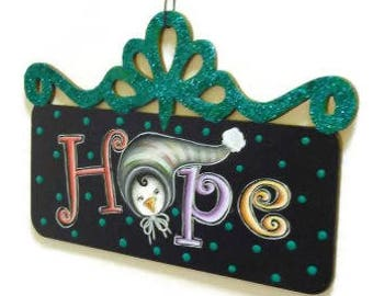 Penguin Hope Sign With Filigree Top   Hand Painted Sign With Cute Penguin