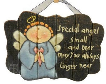 Special Angel Sign   Small Tole Painted Sign For Child's Room   Cute Prim Angel Sign