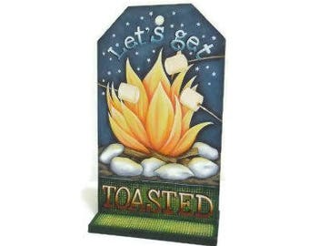 Roasting Marshmallows Campfire Sign   Tole Painted Campfire Sign   Hand Painted Camping Sign