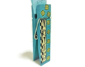 Large Wood Clothespin Note Holder   Six Inch Tole Painted Note Clip
