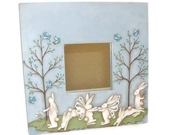 Fairy Bunnies On Ikea Mirror | Hand Painted Spring Bunny Scene | Can Be Personalized