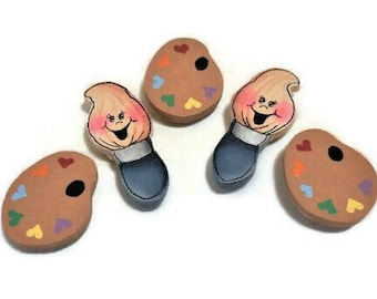 Tole Painted Button Covers For Shirt   Cute Paint Brush and Palette Shaped Button Covers   Clip-On Covers For Shirt Buttons