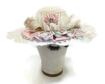Crocheted Decorative Hat With Hand Painted Suede Roses
